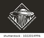 ufo hovered in the sky above... | Shutterstock .eps vector #1022014996