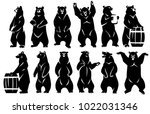 a group of bears stand on their ... | Shutterstock .eps vector #1022031346