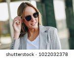 beautiful young blonde woman...   Shutterstock . vector #1022032378