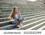 beautiful young caucasian woman ... | Shutterstock . vector #1022032399