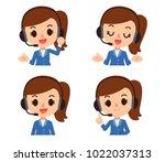 vector female operator ... | Shutterstock .eps vector #1022037313