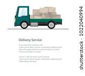 small cargo truck with boxes... | Shutterstock .eps vector #1022040994