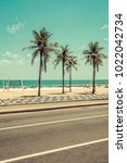 sunny day with palms on ipanema ... | Shutterstock . vector #1022042734