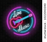 neon sign of bar with live... | Shutterstock .eps vector #1022043340