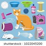 cat toys vector pets... | Shutterstock .eps vector #1022045200
