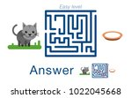 children's labyrinth with cat... | Shutterstock .eps vector #1022045668