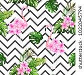 exotic summer print. seamless... | Shutterstock .eps vector #1022045794