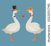 gander wearing a top hat and a... | Shutterstock .eps vector #1022051740