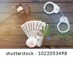 hammer of the judge  marijuana  ...   Shutterstock . vector #1022053498