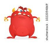 angry cartoon monster. vector... | Shutterstock .eps vector #1022054869