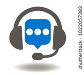headset speech bubble icon... | Shutterstock .eps vector #1022057383