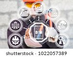 industrial engineer using... | Shutterstock . vector #1022057389