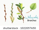watercolour branches and leaf. | Shutterstock . vector #1022057650
