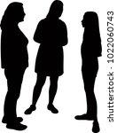 three girls making chat ... | Shutterstock .eps vector #1022060743