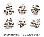 hot dog logo or label. fast... | Shutterstock .eps vector #1022063464