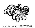 "black hand drawn ""champion girl""... | Shutterstock .eps vector #1022070304"