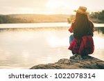 female tourists in beautiful... | Shutterstock . vector #1022078314