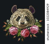 embroidery panda and flowers.... | Shutterstock .eps vector #1022084929