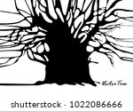tree without foliage isolated... | Shutterstock .eps vector #1022086666