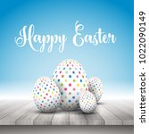 collection of spotted easter... | Shutterstock .eps vector #1022090149