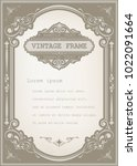 vintage frame with beautiful... | Shutterstock .eps vector #1022091664