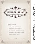 vintage frame with beautiful... | Shutterstock .eps vector #1022091910