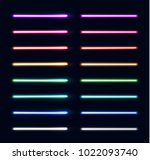 neon light tubes set. colorful... | Shutterstock . vector #1022093740