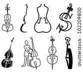 violin  cello and bass icons... | Shutterstock .eps vector #102209800