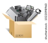 a smart device with boxes....   Shutterstock .eps vector #1022098960