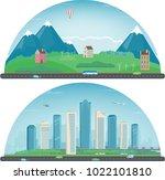 city landscape and suburban... | Shutterstock .eps vector #1022101810