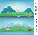 suburban landscape. cityscape... | Shutterstock .eps vector #1022101816