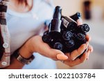 close up of woman hands with... | Shutterstock . vector #1022103784