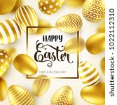 easter golden egg with... | Shutterstock .eps vector #1022112310