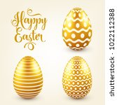 easter golden egg with... | Shutterstock .eps vector #1022112388