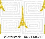seamless paris pattern with... | Shutterstock .eps vector #1022113894
