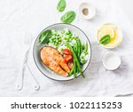 healthy balanced meal lunch... | Shutterstock . vector #1022115253