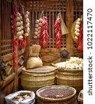 traditional market  garlic ...   Shutterstock . vector #1022117470