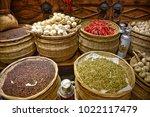 traditional market  garlic ...   Shutterstock . vector #1022117479