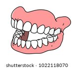 dental prosthesis  a hand drawn ... | Shutterstock .eps vector #1022118070
