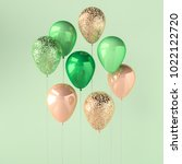 set of green and golden glossy... | Shutterstock . vector #1022122720