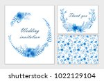 set of wedding cards with blue... | Shutterstock . vector #1022129104