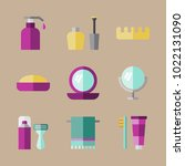 icons beauty with brush ... | Shutterstock .eps vector #1022131090