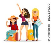 girls traveling together vector ... | Shutterstock .eps vector #1022134270