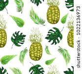bright pineapples  nettle and... | Shutterstock .eps vector #1022136973