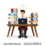 stressed office worker sitting... | Shutterstock .eps vector #1022139853