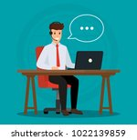 operator of call center office... | Shutterstock .eps vector #1022139859