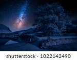 field in district lake at night ... | Shutterstock . vector #1022142490