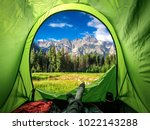 beautiful view from tent to... | Shutterstock . vector #1022143288