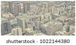 matte vintage. skyscrapers in... | Shutterstock . vector #1022144380