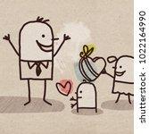 cartoon children and father's... | Shutterstock . vector #1022164990